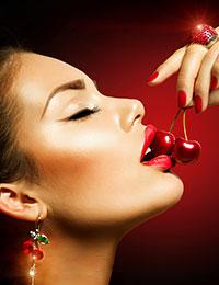 Hot sexy eating cherries girl